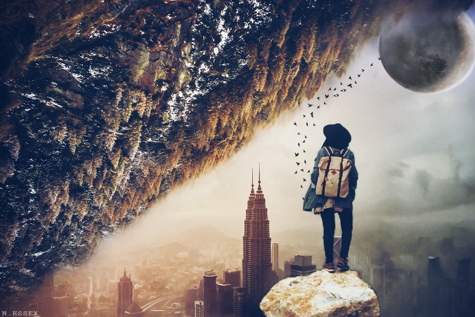#FreeToEdit #mountains #trees #nature #concretejungle #city #view #girl #moon #surreal #doubleexposure