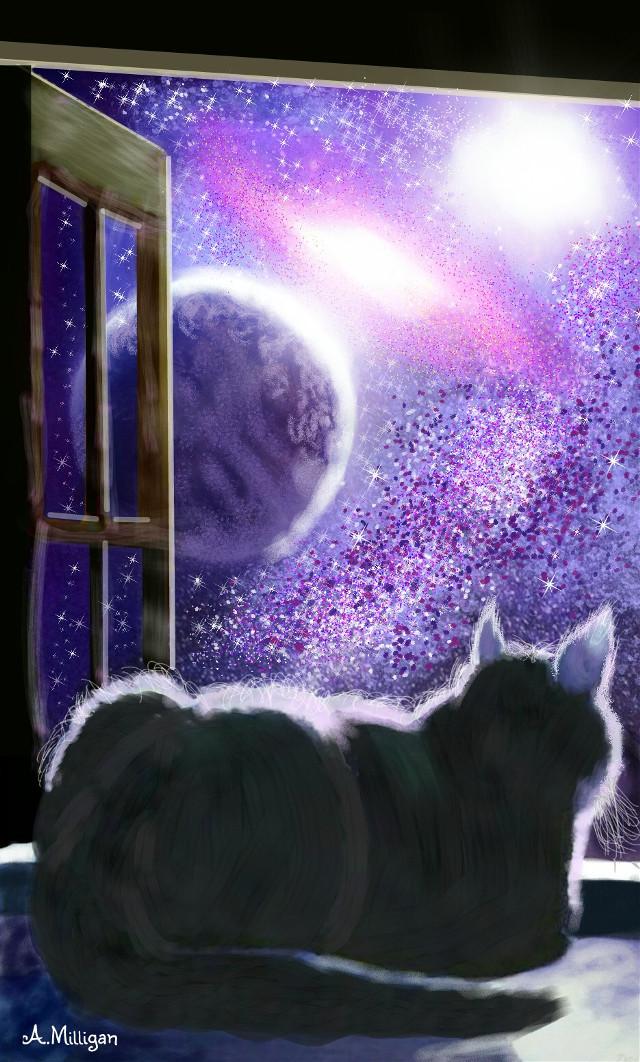 #wdpgalaxy   #colorsplash  #cute  #cat   #silhouette  #galaxy  #stars  #nighttime  #draw 😊💚❤