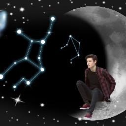 freetoedit moon galaxy constellation night
