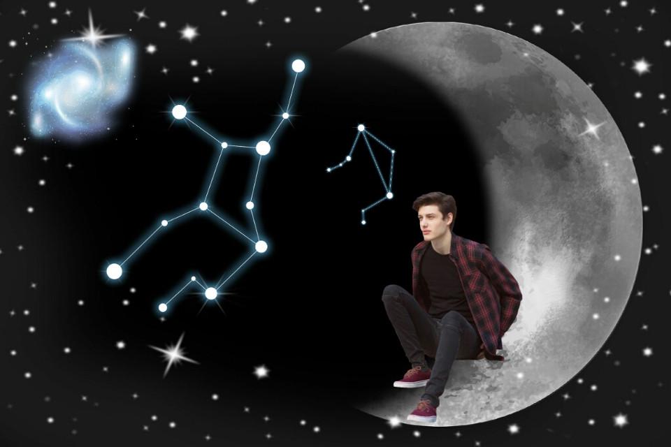 #FreeToEdit #Moon #Galaxy #Constellation #Night #Boy #Stars