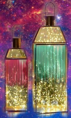 space lanterns glitter
